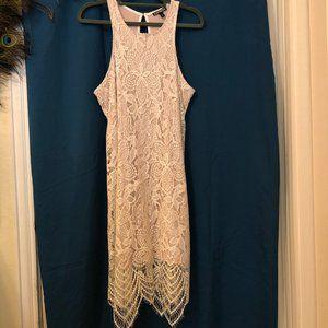 Lacy White Midi Dress with Beautiful, Delicate Hem